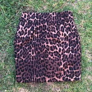 Forever 21 leopard print pencil skirt black brown